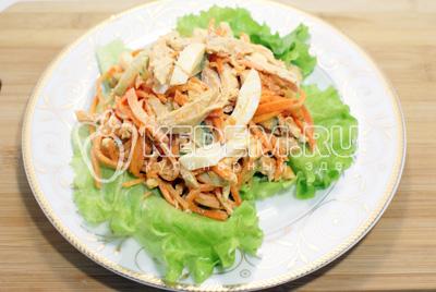 Перемешать и посолить по вкусу. Выложить на блюдо с листьями салата