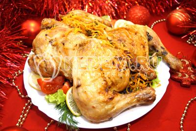 Запеченная курица с грибами