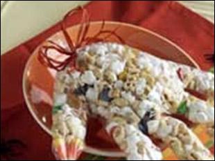 Хэллоуин по-быстрому - идеи для украшения стола - Перчатка с попкорном