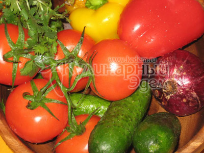 Греческий салат, рецепт приготовления: овощи