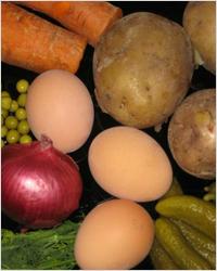 Продукты для приготовления салата Оливье