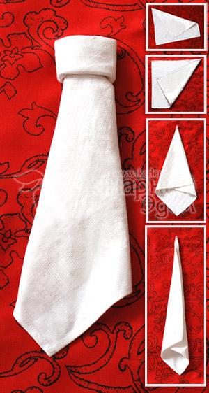 Способ складывания салфеток: галстук