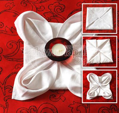Способ складывания салфеток: роза