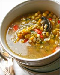 Суп с шампиньонами и горохом