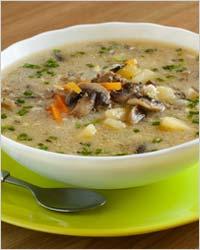 Овощной суп с грибами и фасолью