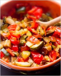 Овощная смесь с солёными баклажанами
