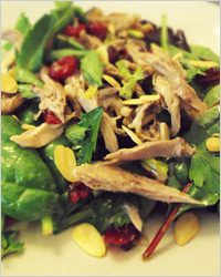 Салат с уткой, гранатом и орехами