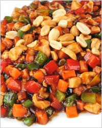 бобы с овощами и орехами