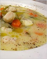 Суп из белой морской рыбы и сельдерея