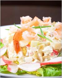 Салат с креветками и крабовым мясом - Меню на Новый год