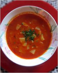 Суп из картофеля с томатной пастой