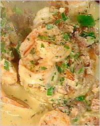 Рагу из рыбы и креветок в сливочном соусе