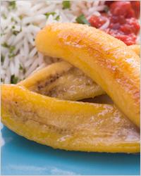 Рис с жареными бананами