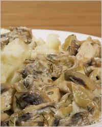 Тушёные грибы в горчичном соусе