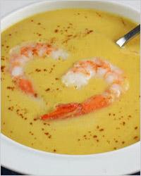фасолевый суп-пюре с креветками