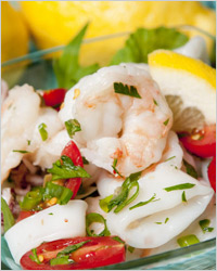 Салат–коктейль из кальмаров «Лагуна»