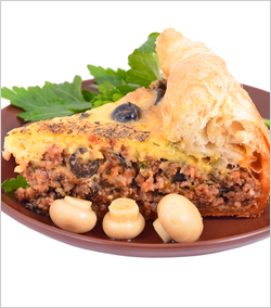 Pie with meat and mushrooms