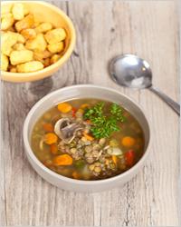 суп с чечевицей и грибами
