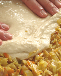 приготовление пирога с капустой