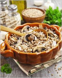 Блюда русской кухни, каша с грибами