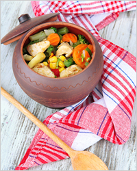 meat with vegetables in a pot