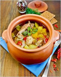 Chicken stew in a pot