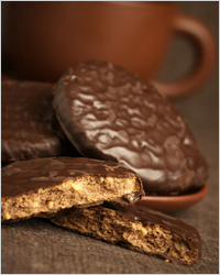 Chocolate covered biscuits for tea