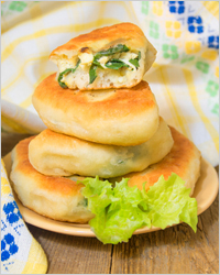 fried cakes with herbs