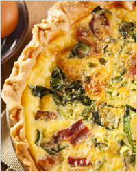 Vegetable pie with bacon