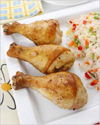 Chicken leg with rice