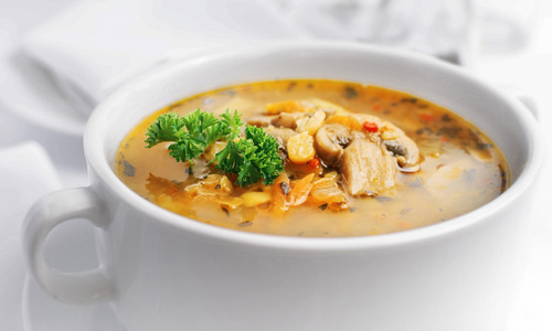 Soup with mushrooms and fish