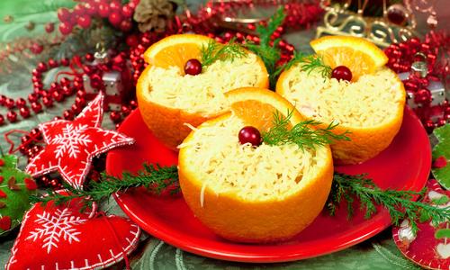 Новогодний салат в апельсинах