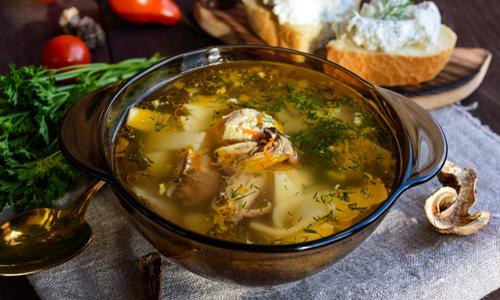 Суп из сухих грибов с овощами