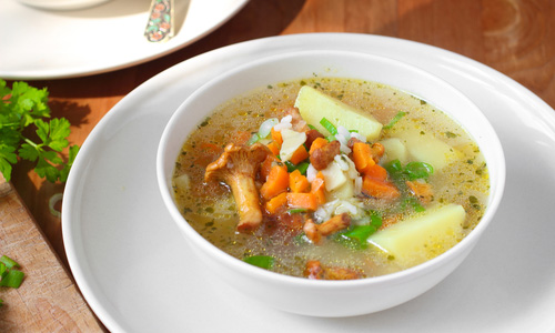 Суп из сушеных лисичек