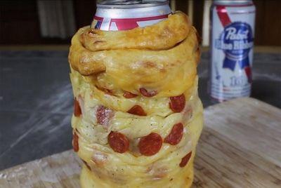 Держатель для пива из пиццы