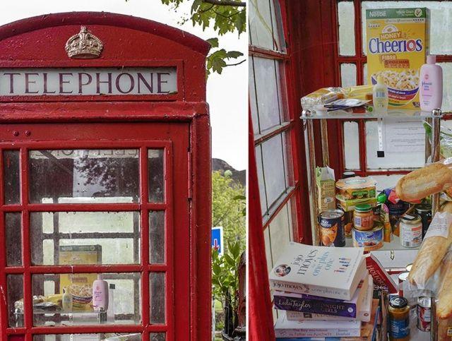 Неиспользуемая телефонная будка в британской деревне превратилась в продовольственный банк
