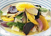 Теплый салат из апельсинов, свеклы и курицы