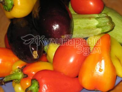 Овощи, перцы, баклажаны, кабачок