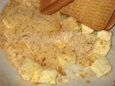 Творожный торт с апельсинами, приготовление, печенье