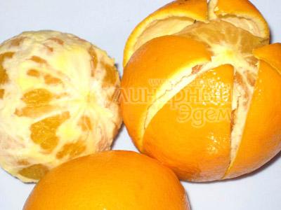 Творожный торт с апельсинами, чистим апельсины