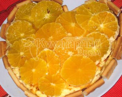 Творожный торт с апельсинами (апельсиновый чизкейк)