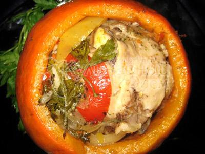 Тыква с куриным филе запеченная в духовке - рецепт пошаговый с фото