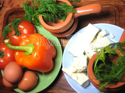 Ингредиенты для приготовления рецепта - брынза, запеченная с овощами