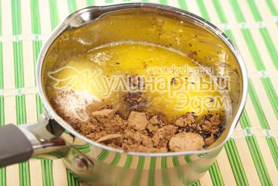 Сливочное масло растопить, добавить какао и сахар. - Шоколадные пирожные «К чаю». Фото приготовления рецепта на Новый год.
