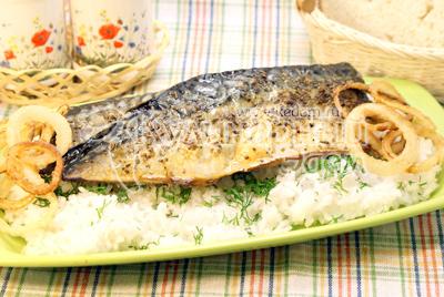 Рис отварить, выложить на блюдо и посыпать мелко нашинкованным укропом, выложить сверху рыбу и колечки лука. - Запеченная скумбрия с рисом. Фото приготовления рецепта.
