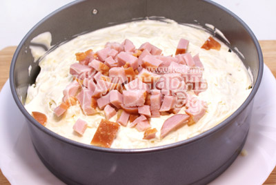 Слой ветчины. - Новогодний салат «2012». Рецепт приготовление новогоднего салата.