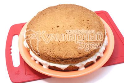 Cubra o topo com a segunda parte do bolo