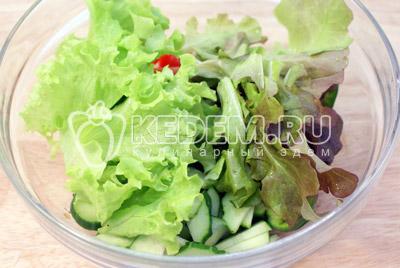 Листья салата промыть и обсушить, нарвать в миску руками.  Осторожно перемешать и заправить маслом. Посолить и поперчить по желанию