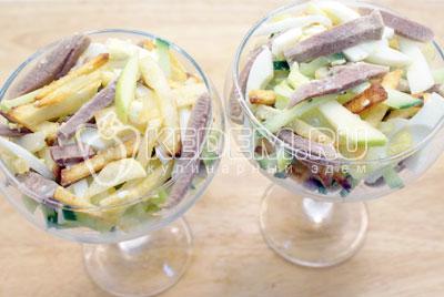 Выложить в порционные салатницы или одну большую салатницу. - Салат «Новогодний аперитив». Фото рецепт приготовление новогоднего салат с языком на новогодний стол.