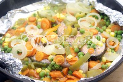 Переложить в форму или на противень. Накрыть сверху фольгой и запекать в разогретой до 200 градусов С духовке 30 минут. - Кижуч запеченный с овощами. Фото рецепт приготовление красной рыбы запеченной с овощами в духовке.